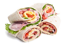 Wrapped tortilla sandwich rolls Royalty Free Stock Photography