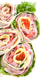 Wrapped tortilla sandwich rolls Royalty Free Stock Images