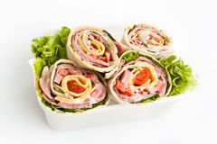 Wrapped tortilla sandwich rolls Royalty Free Stock Photos