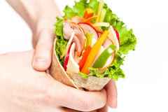 Wrapped tortilla sandwich Royalty Free Stock Images