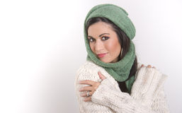 Wrapped Up Woman Waears Woven Scarf Sweater Stock Images