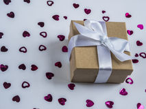 Wrapped vintage gift box. Copy space Royalty Free Stock Photography