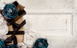 Wrapped vintage packages with flowers Stock Photo