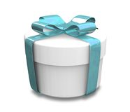 Wrapped white and blue gift (3D) Royalty Free Stock Image