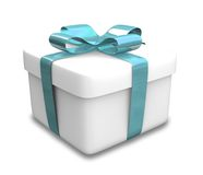 Wrapped white and blue gift (3D) Stock Images