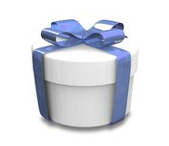 Wrapped white and blue gift (3D) Stock Photography