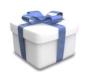 Wrapped white and blue gift (3D) Stock Photos