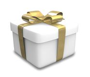 Wrapped white and gold gift (3D) Royalty Free Stock Photography