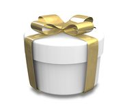 Wrapped white and gold gift (3D) Royalty Free Stock Image