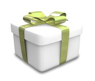 Wrapped white and green gift (3D) Stock Photo