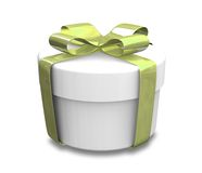 Wrapped white and green gift (3D) Royalty Free Stock Photos
