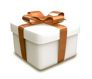 Wrapped white and orange gift (3D) Stock Image