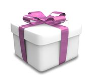 Wrapped white and purple gift (3D) Stock Photos