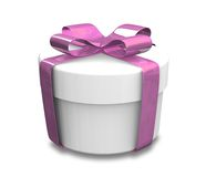 Wrapped white and purple gift (3D) Royalty Free Stock Image