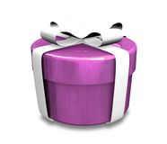 Wrapped white and purple gift (3D) Royalty Free Stock Photos