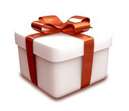 Wrapped white and red gift (3D) Royalty Free Stock Image