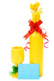Wrapped wine and cup and card for texts. On a white background Stock Photos