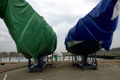 Wrapped  yachts. Yachts wrapped in plastic sheeting Royalty Free Stock Photography