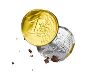 Wrapper of the chocolate euro. On a white background Stock Photo
