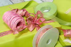 Wrapping birthday presents Royalty Free Stock Image