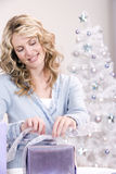 Wrapping the christmas gift Stock Photo