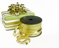 Wrapping Christmas gifts Royalty Free Stock Photos