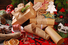 Wrapping christmas presents  in eco paper Stock Image