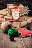 Wrapping Christmas presents Royalty Free Stock Image