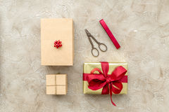 Wrapping gifts in box for holiday top view mock up Royalty Free Stock Photo