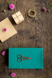 Wrapping gifts in box for holiday top view mock up Stock Image