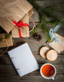 Wrapping gifts for Christmas Stock Photography