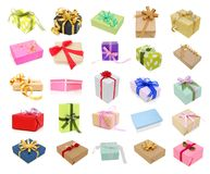 Wrapping gifts on collection Royalty Free Stock Photos