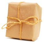 A wrapping package gift. A package gift with recycling paper Stock Photo