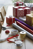 Wrapping Paper And Accessories For Christmas Royalty Free Stock Image