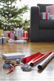 Wrapping Paper And Accessories For Christmas Royalty Free Stock Photo