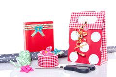 Wrapping paper bows and ribbons Royalty Free Stock Photos