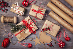 Wrapping paper and a gift Royalty Free Stock Photo