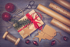 Wrapping paper and a gift Stock Image