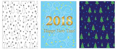 Wrapping paper and greeting card, set, vector. Stock Images