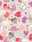 Wrapping paper with  hearts, vector Stock Images
