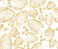 Wrapping paper pattern with gold  leaves imprints Royalty Free Stock Photos