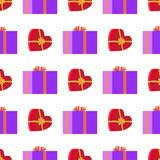 Wrapping Paper with Red and Violet Gift Boxes. With yellow and purple ribbons in square and heart shapes on white. Seamless festive pattern for decorating Royalty Free Stock Photos