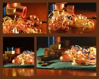 Wrapping paper and ribbons Stock Image