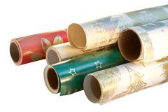 Wrapping paper rolls royalty free stock photography