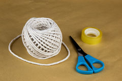Wrapping Paper String Sticky Tape and Scissors Stock Image
