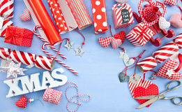 Wrapping presents for christmas Royalty Free Stock Photography