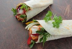 Wraps with chicken and vegetables Royalty Free Stock Image