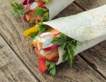 Wraps with chicken and vegetables Royalty Free Stock Images