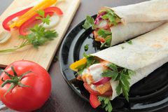 Wraps with chicken and vegetables Stock Photography