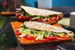 Wraps with vegetables and cheese Stock Image